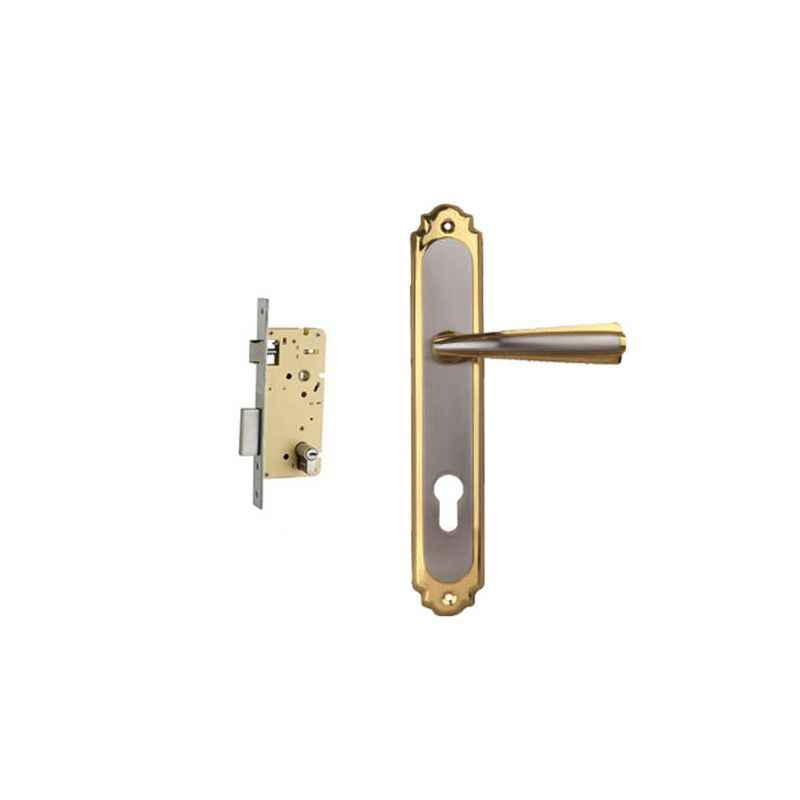Plaza Rover Gold Silver Finish Handle with 250mm Pin Cylinder Mortice Lock & 3 Keys