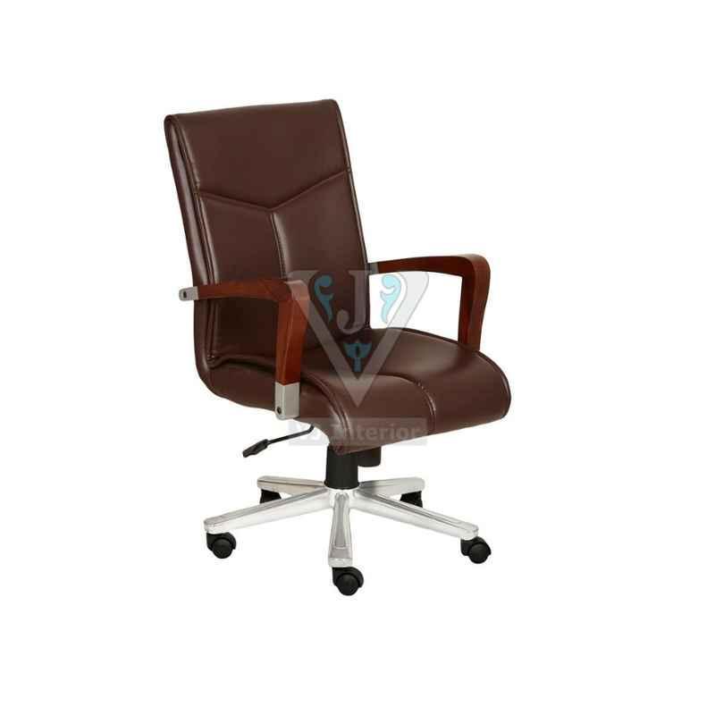 VJ Interior 18x18 inch Brown Leather Plain Senior Office Chair, VJ-1606