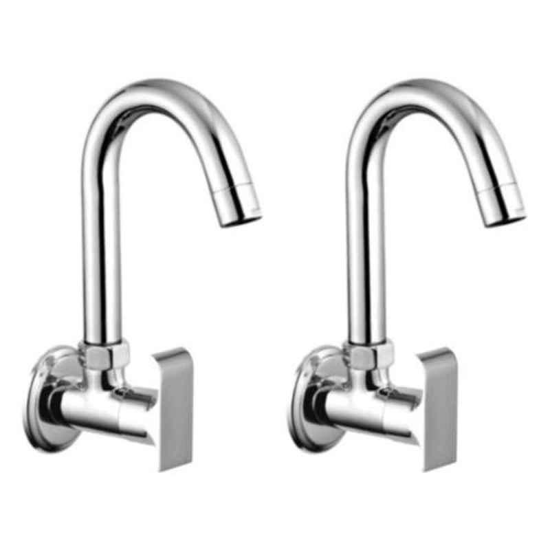 Drizzle Swift 2 Pcs Brass Chrome Finish Silver Sink Cock Set, ASINKSWIFT2