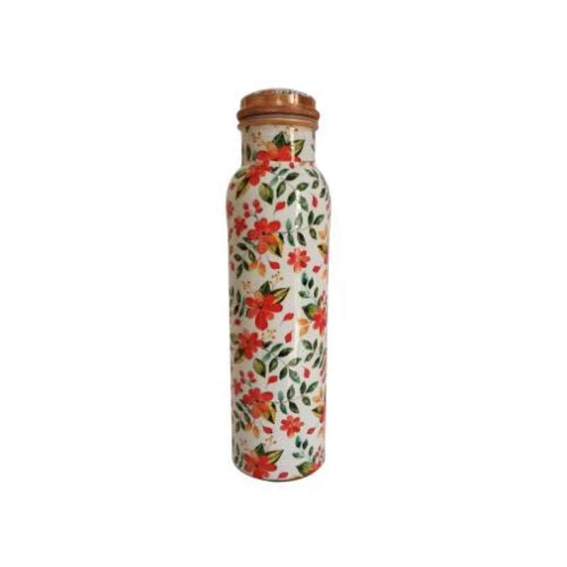 Healthchoice 750ml Copper Orange Flower Printed Water Bottle