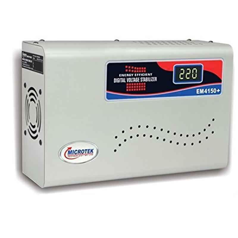 Microtek EM4150+ 150-280V White Voltage Stabilizer Upto 1.5 Ton AC with 3 Years Warranty