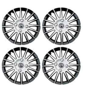 Hotwheelz 4 Pcs 14 inch Black & Silver Wheel Cover Set for Honda Jazz, HWWC_CAMRY_DC14_JAZZ