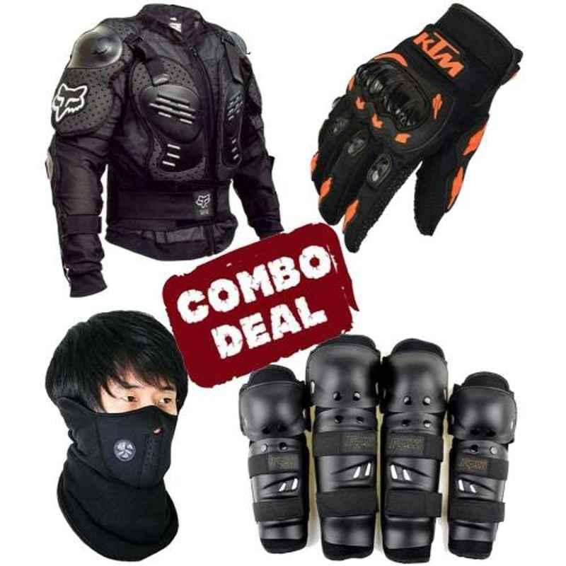 Love4ride Neoprene Mask, Fox Body Armour, Fox Elbow Knee Guard & Ktm Bike Gloves Combo for Biker
