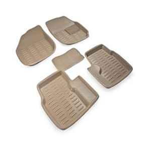 Love4ride 4 Pcs 3D Beige Car Floor Mat Set for Fiat Grande Punto