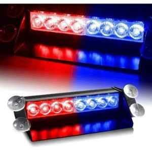 JBRIDERZ 8 LED 3 Modes Red & Blue Car Dash Strobe Flash Light