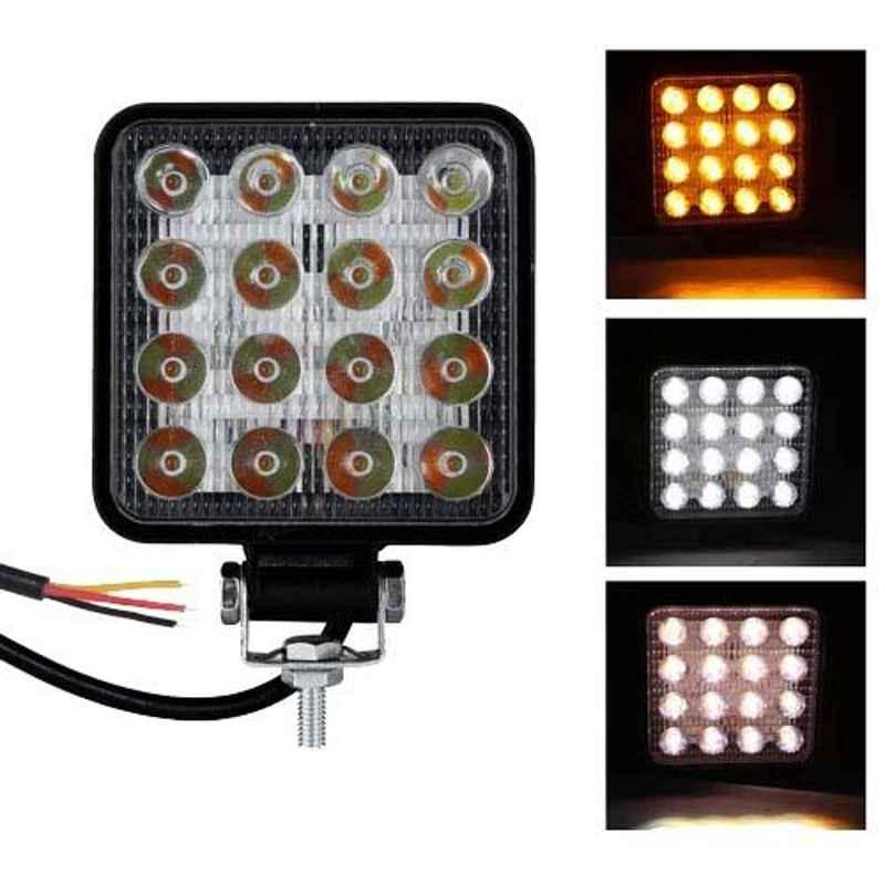 AllExtreme EX16WY1 16 LED 48W 4 inch White & Amber Square Waterproof Fog Light