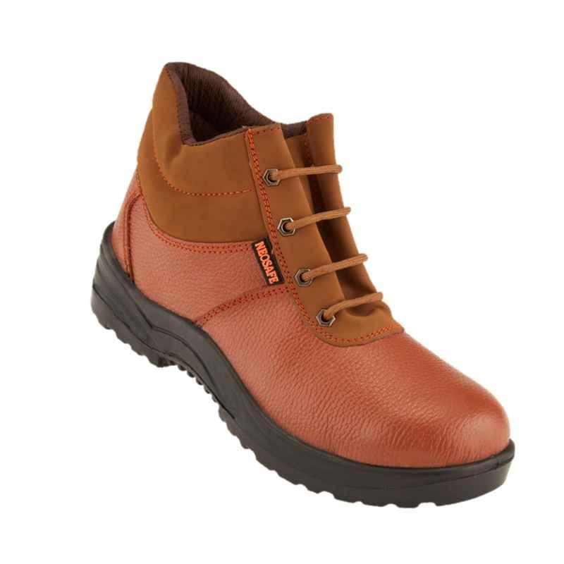 Neosafe Millenium A5016 Leather High Ankle Steel Toe Brown Safety Shoes, Size: 9