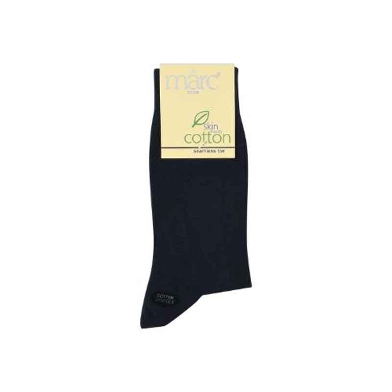 Marc Vintage Navy Blue Cotton Spandex Plain Socks for Men, 1098-00N