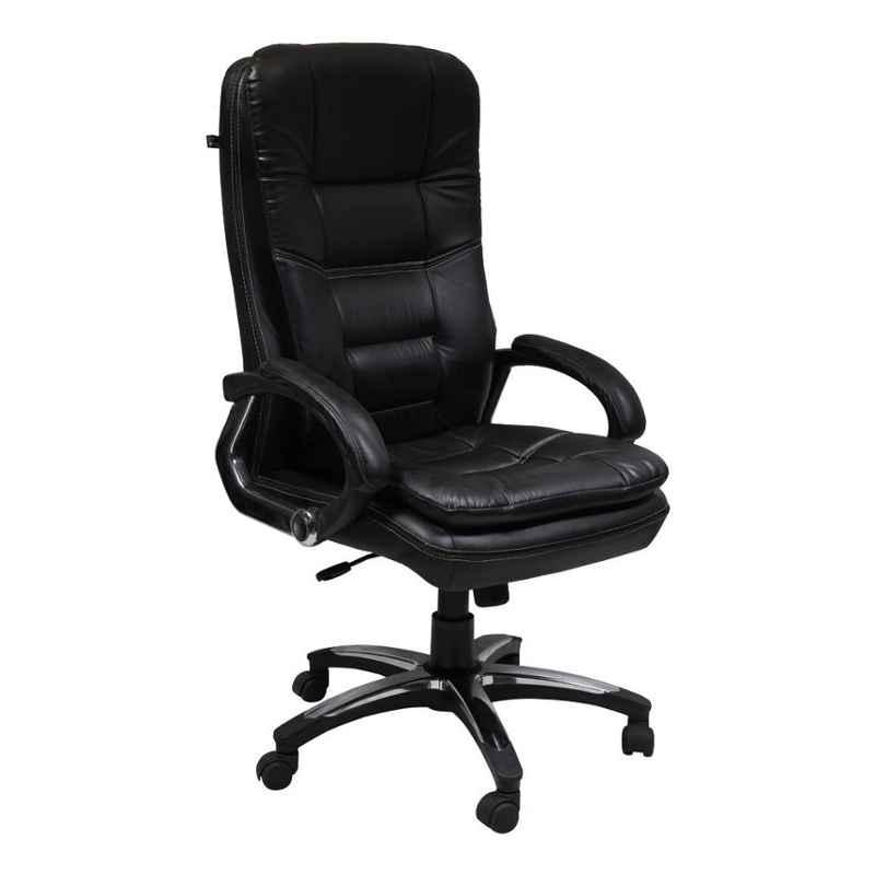 Caddy PU Leatherette Black Adjustable Office Chair with Back Support, DM 59 (Pack of 2)