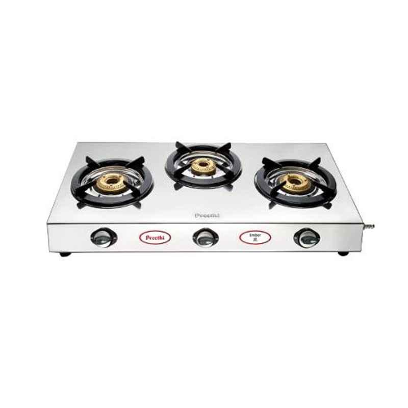 Preethi Ember Silver Stainless Steel with 3 Burners Gas Stove, SSGS003