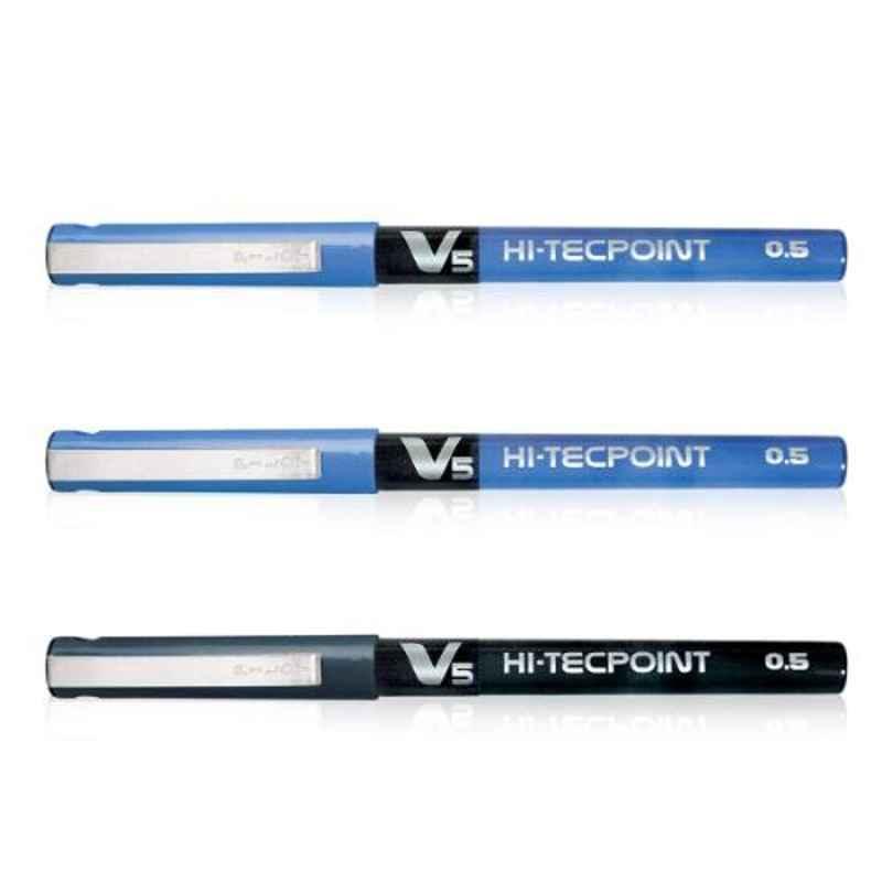 Pilot V5 Hi-Tecpoint 2 Blue & 1 Black Liquid Ink Roller Ball Pen Set