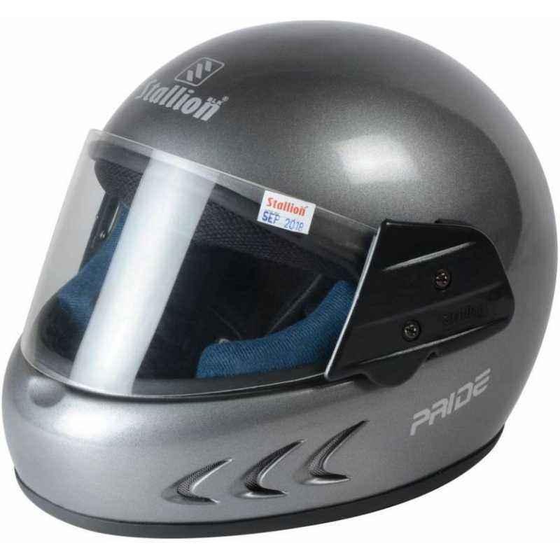 Stallion BLK Pride Plus Full Face Grey Motorbike Helmet, Size: M