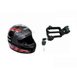 Evergreen Combo of Stylish Helmet & W Shape Bike Helmet Lock