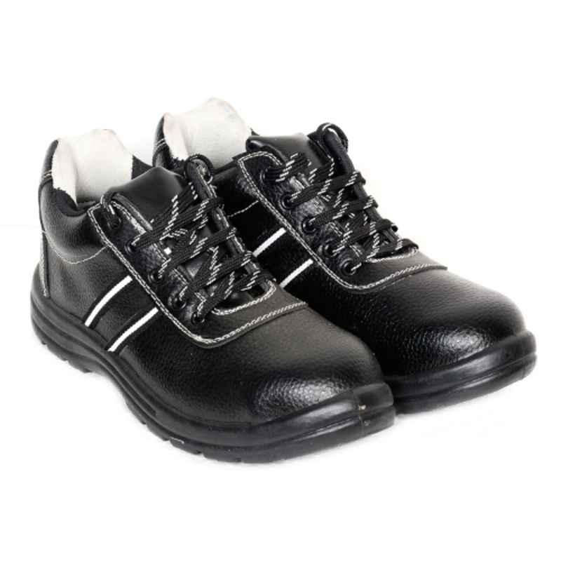 Ayoka Jazz Leather Steel Toe Grey & Black Semi Ankle Safety Shoes, Size: 6