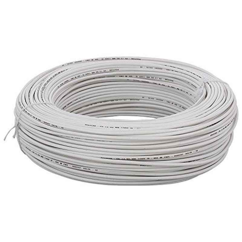 KEI 0.5 Sqmm Single Core FRLSH White Copper Unsheathed Flexible Cable, Length: 100 m
