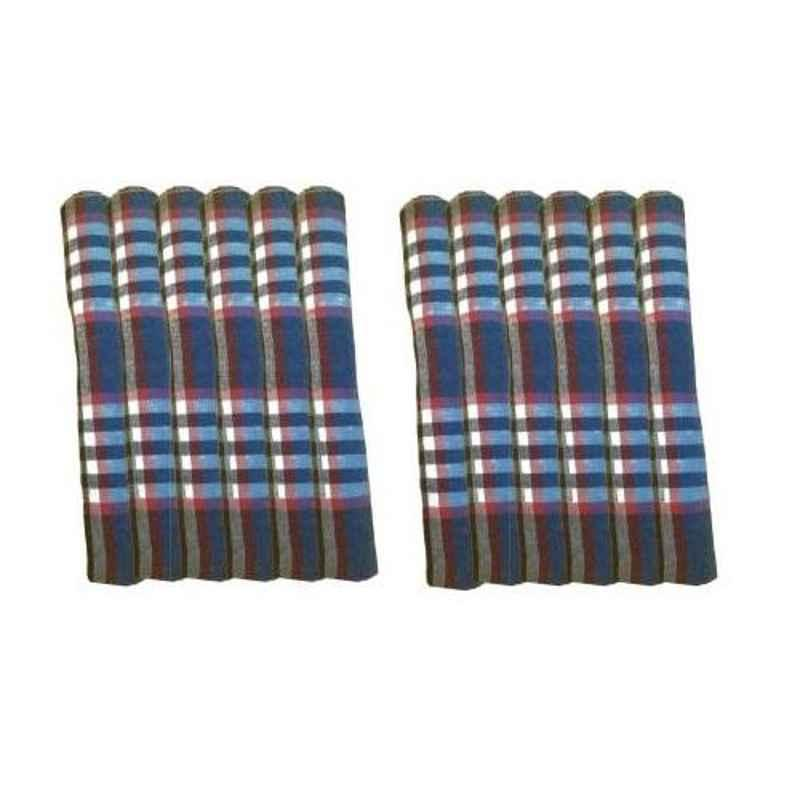 Chiyu 18x18 inch Multicolour Cotton Kitchen Napkin Cloth, KNLC12 (Pack of 12)