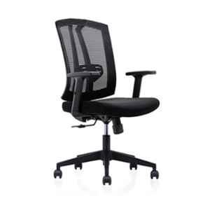 Smart Office Furniture Black Medium Back Office Executive Chair with Three Position Lock Mechanism, SMOF-163BLP