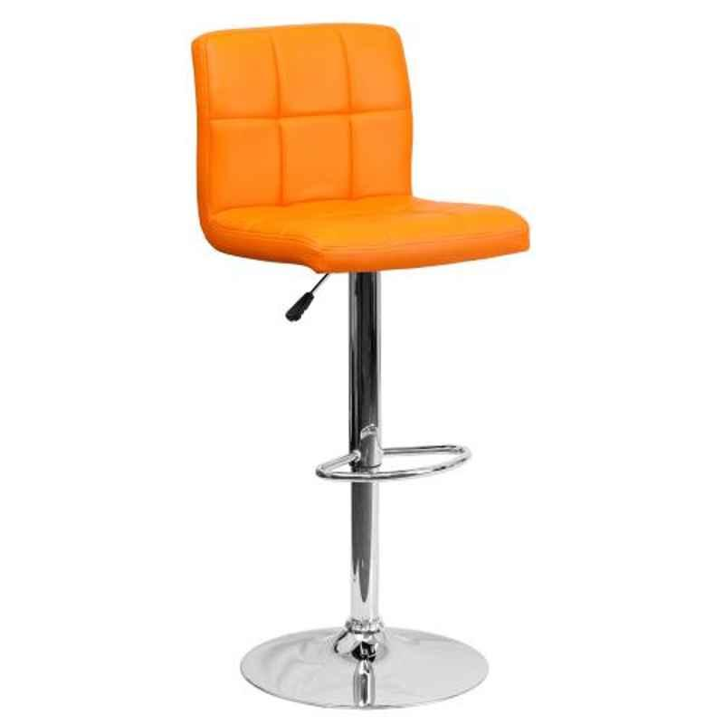Steelcraft KBSTO02 Orange Leatherette Upholstery Seat Bar Stool
