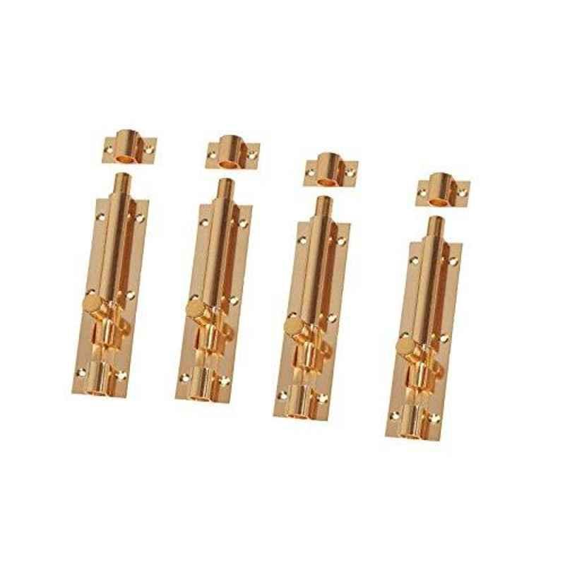 Smart Shophar 12 inch Brass Gold Plain Tower Bolt, SHA10TW-PLAN-GL12-P4 (Pack of 4)