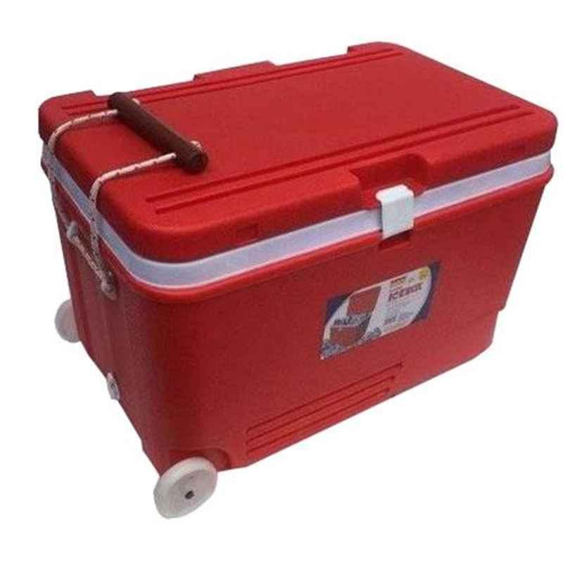 Aristo 60L Red Plastic PUF Insulated Ice Box with Wheel