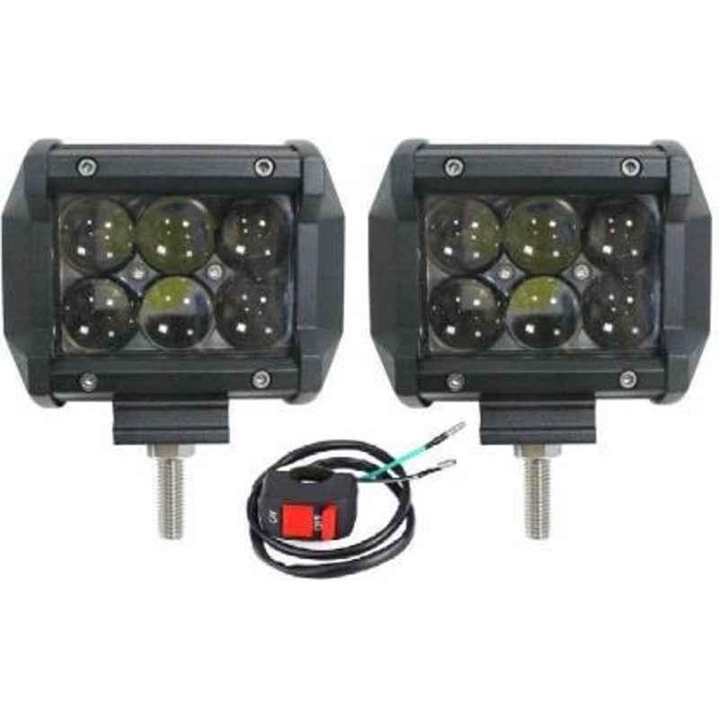JBRIDERZBike 6 Led 18W, 2 Pcs Set Cree Fog Light With Switch For Royal Enfield Gt 250R