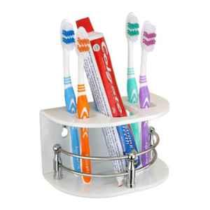 Axtry 7 inch Wall Mounted Acrylic White Bathroom Tooth Brush Holder