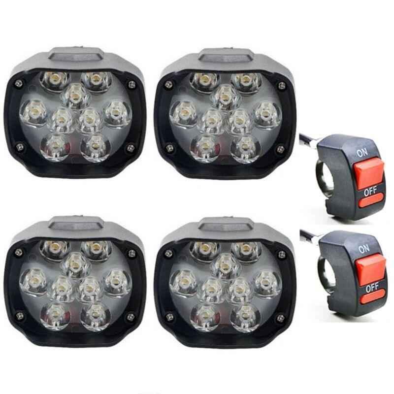 Eshopglee 4 Pcs Motorcycle 9 LED Fog Headlight with 2 Pcs On-Off Switch Set
