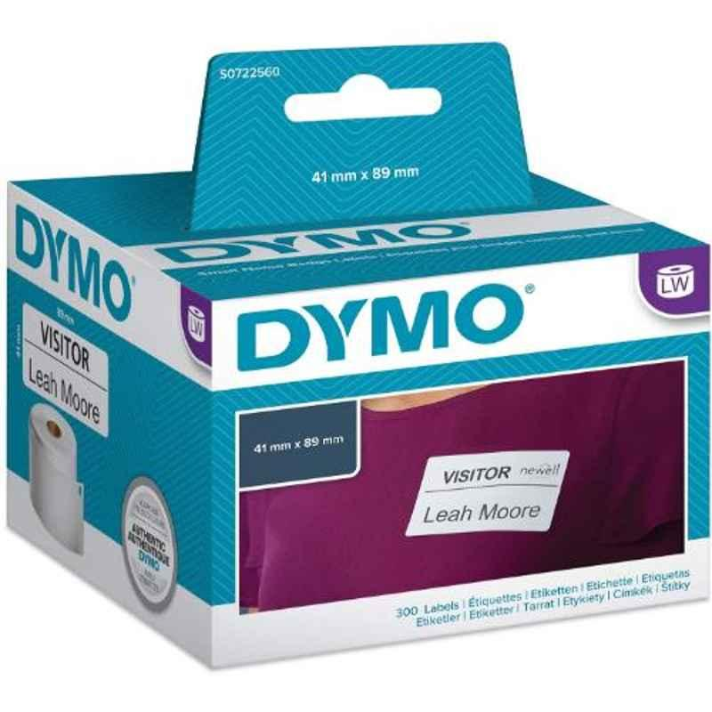 Dymo S0722560 41x89mm Black Print on White Direct Thermal Label Writer Roll, Capacity: 300 Labels