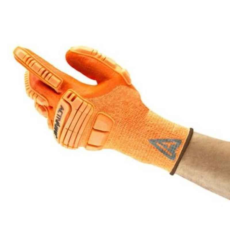 Ansell ActivArmr Orange Nitrile & Kevlar Industrial Hand Gloves, Size: 9, 97-120