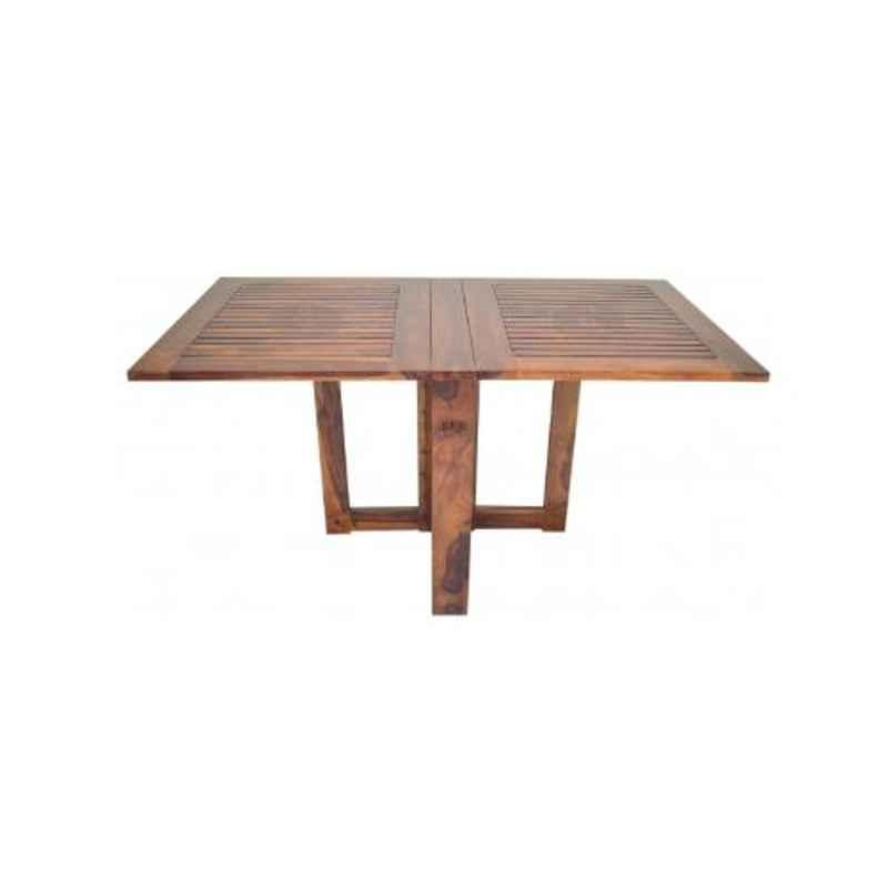 Angel Furniture Solid Sheesham Wood Glossy Finish Brown Rectangular Dining Table, AF-169H