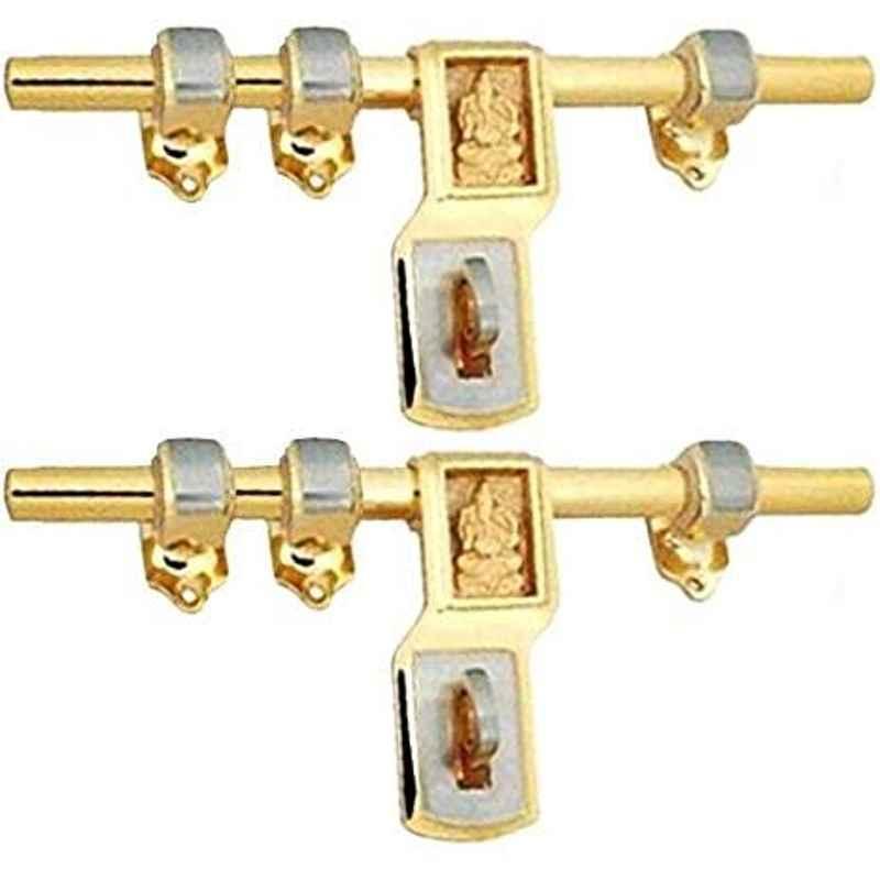 Smart Shophar 8 inch Brass Gold Silver Qeez Ganesha Aldrop, SHA14AL-QEEZ-GS08-P2 (Pack of 2)