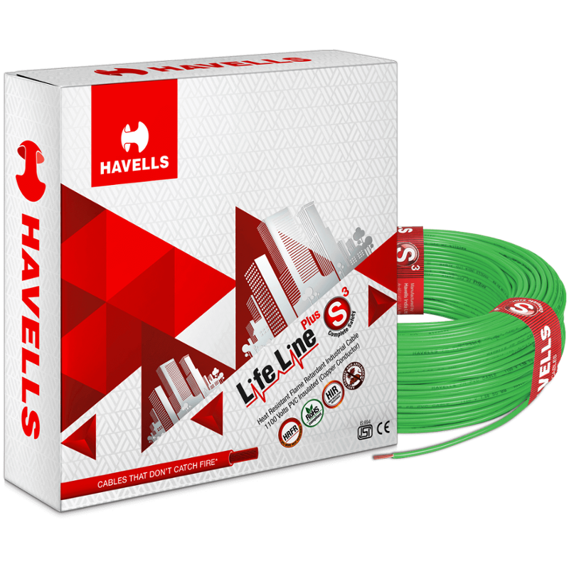 Havells 6 Sqmm Green Life Line Plus Single Core HRFR PVC Insulated Flexible Cables, WHFFDNGA16X0, Length: 90 m