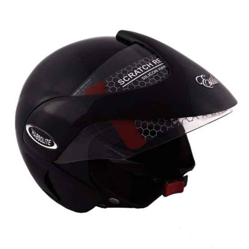Habsolite HB-EB01 Estilo Black Flip Up Open Face Helmet with Retractable Visor & Adjustable Strap, Size: M