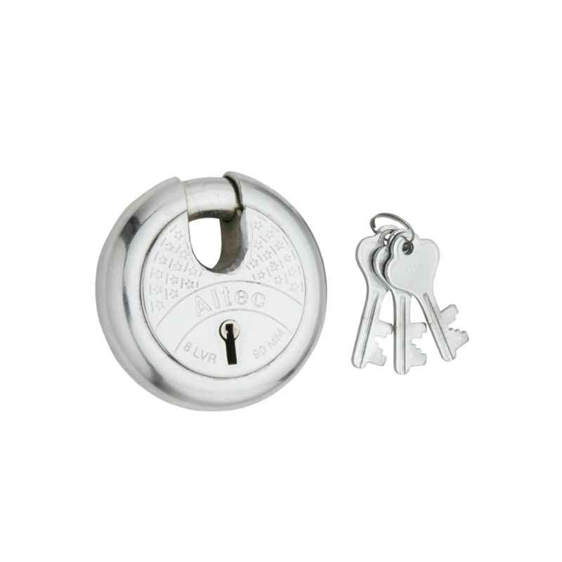 Smart Shophar 80mm Steel Silver Zip Action Medium Disc Shutter Lock, SLK80SL-ZIPA-MSL80-P1