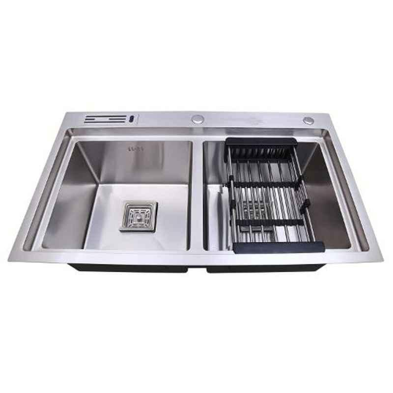 Crocodile 32x19x10 inch Stainless Steel Satin Finish Silver Double Bowl Kitchen Sink with Tap Hole