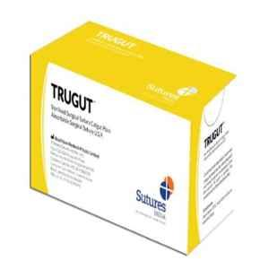 Trugut 12 Foils 3-0 USP 20mm 1/2 Circle Round Body Plain & Chromic Absorbable Catgut Suture Box, SN 4237