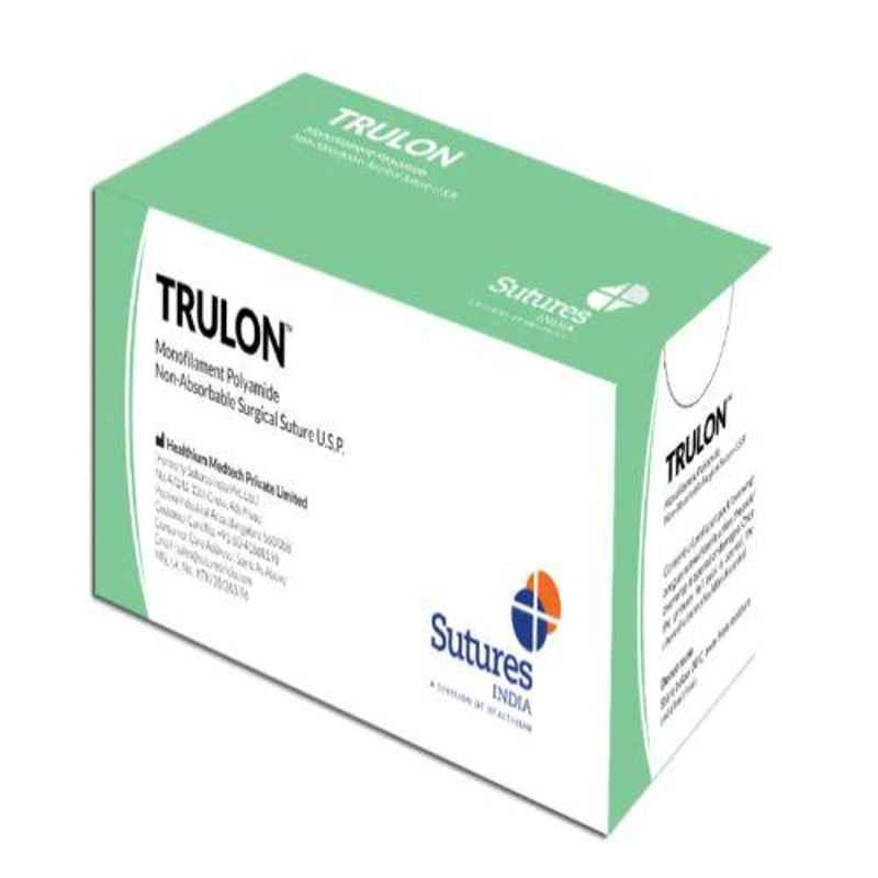 Trulon 12 Foils 1 Loop 50mm 1/2 Circle Round Body Heavy Monofilament Polyamide Non Absorbable Surgical Suture Box, SN 3348