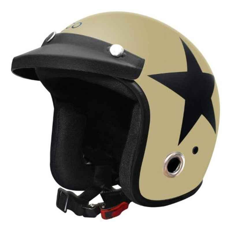 Habsolite HB-ESDS Ecco Star Desert Storm Open Face Helmet with Detachable Cap & Adjustable Strap, Size: M