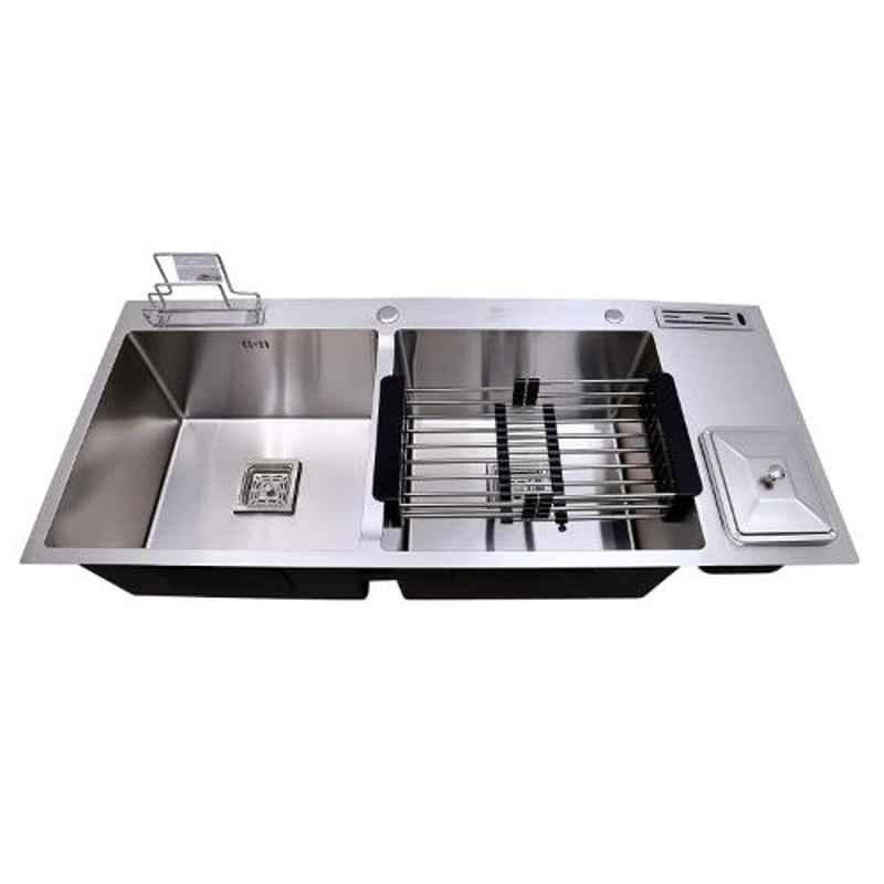 Crocodile 43x18x10 inch Satin Finish Stainless Steel Double Bowl Sink with Dustbin