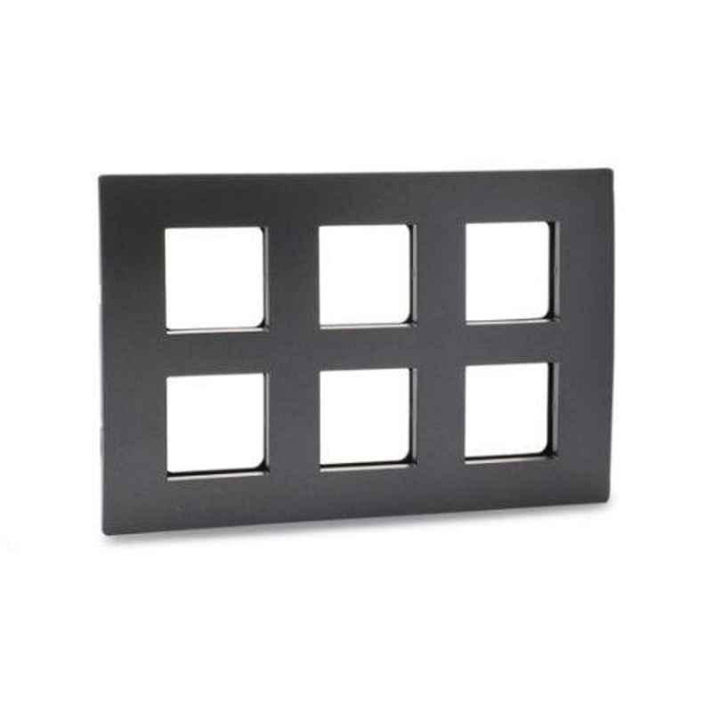 Schneider Opale 12 Module Black Graphite Grid & Cover Plate, X0712_BG (Pack of 5)