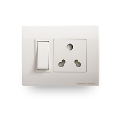 Wipro North West Convex 6A 1M Euro White One Way Switch, M0110