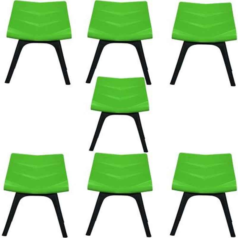 Regent Diamond Shell Plastic Black & Green Chair (Pack of 7)