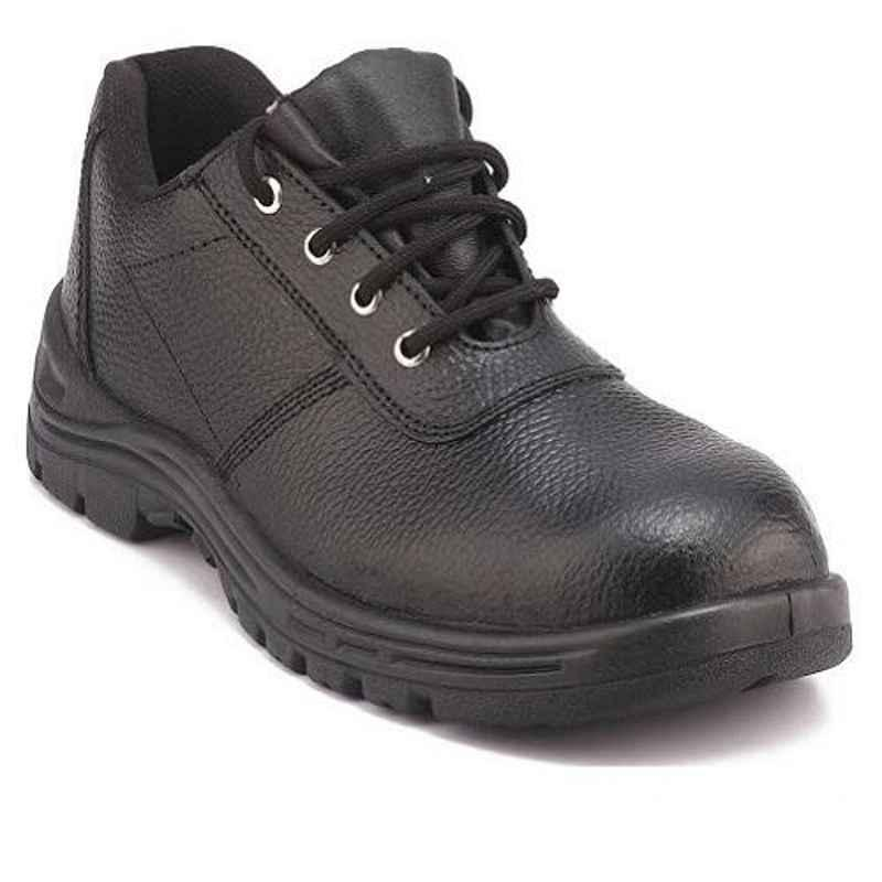 Everest EVE-102 Low Ankle Leather Steel Toe Black Safety Shoes, Size: 6
