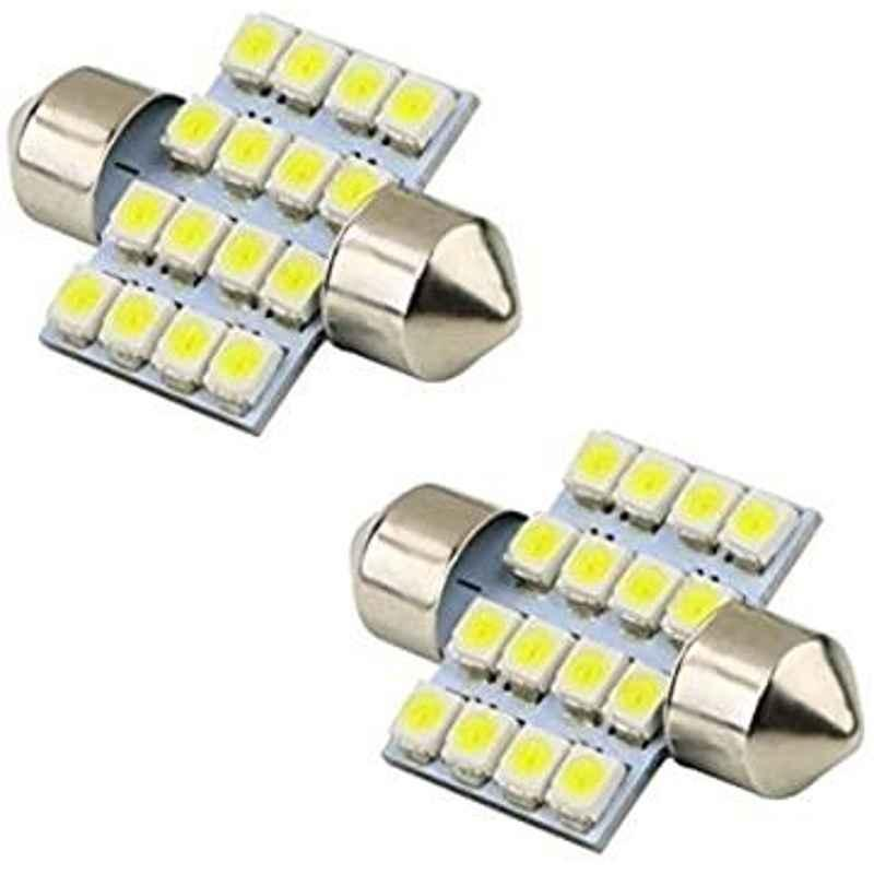 AOW 2X16 SMD LED Interior Car Roof Light/Dome Light for -Volkswagen Beetle(White) Pack of 2