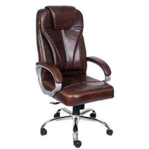 MRC Dragon Brown Chromium Steel & Wood High Back Revolving Office Chair