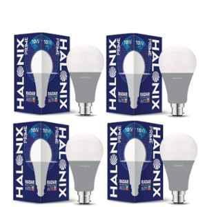Halonix Prime Radar 10W B22 Cool Day White Motion Sensor LED Bulb, HLNX-RDR-10WB22CW (Pack of 4)