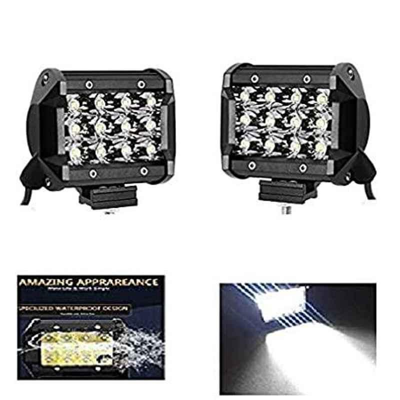 AOW 12 LED Fog Light/Work Light Bar Spot Beam Off Road Driving Lamp 36W Cree - Set of 2 Pieces (with Switch) for TVS Star City
