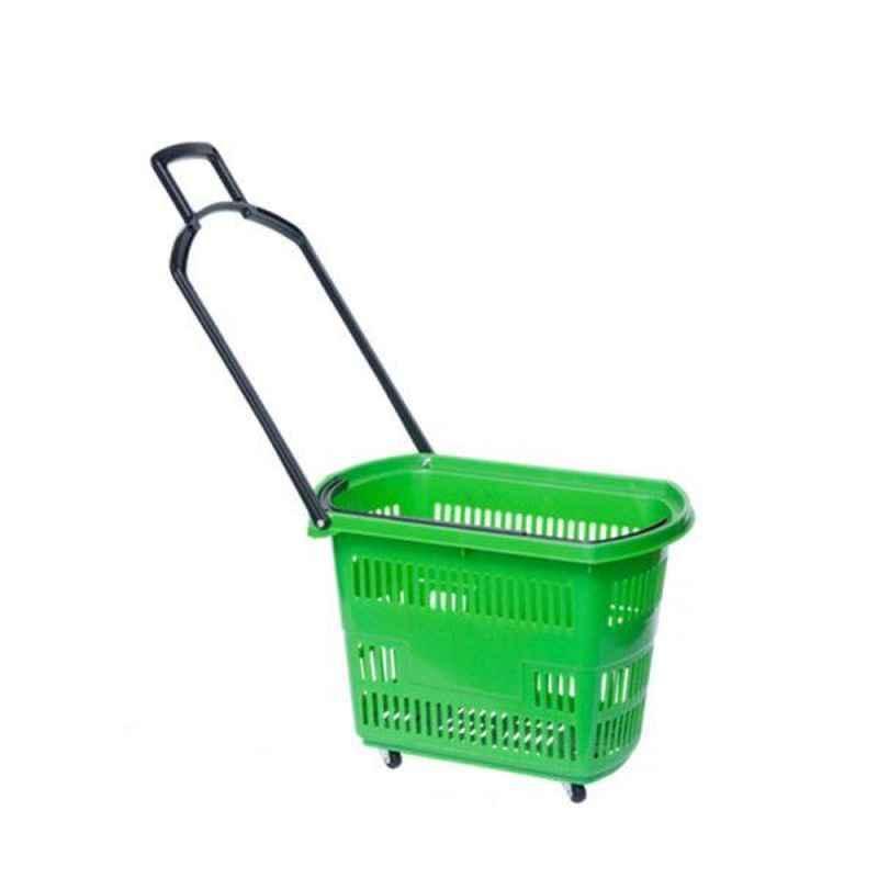 Bigapple 30L Plastic Green Shopping Basket with 4 Small Wheels, BA-BASKET30L-GREEN