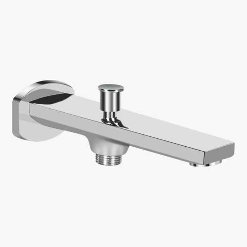 Kerovit Qua Silver Chrome Finish Bath Tub Spout with Diverter & Flange, KB1011017