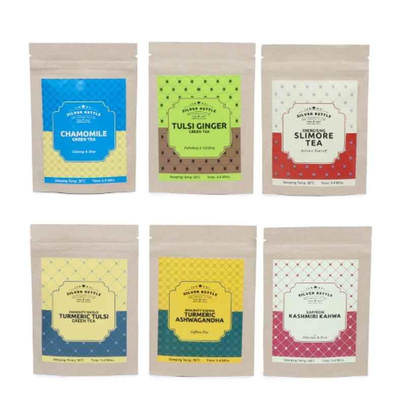 Silver Kettle 6 Pcs 10g 100% Natural Pollution Detox Green Tea Set (Pack of 5)